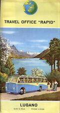 """Prospectus-Tourisme : TRAVEL OFFICE """"RAPID"""", LUGANO, Suisse. Travel Ephemera,Bus"""