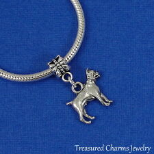 Silver BOXER DOG Dangle Bead CHARM Engish Bulldog fits EUROPEAN Bracelet
