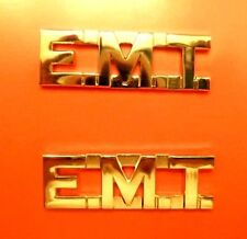 """EMT Collar Pin Set Gold 1/2"""" Cut Out Letters Emergency Medical Technician 2506"""