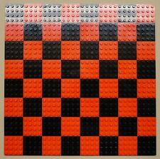 x64 NEW Lego Plates 4x4 Black & Red Baseplates MAKES CHESS Game Board