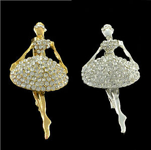 GOLD OR SILVER DANCING GIRL  BALLERINA BROOCH WITH CLEAR RHINESTONE CRYSTALS