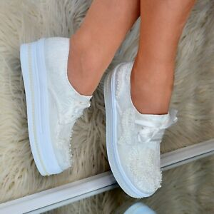 Ladies Bridal Flat Platform Shoes Wedding LACE PEARLS Embellished Trainers Ivory