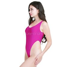 Womens Spandex Neon Dance Gymnastics Work Out Leotard High Cut Thong Swimwear
