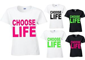 CHOOSE LIFE 80`s Ladies  semi fitted t shirt fancy dress party slogan wham