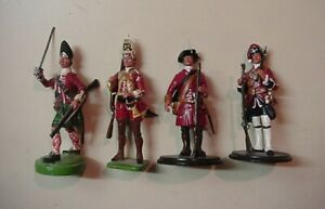 4 British Figures 1750's French Indian Wars 54mm