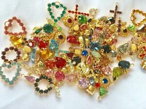 50 pieces Swarovski Charms Assorted Styles &Colors-Gold finish
