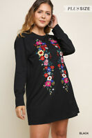 NWT Plus Size XL 1X 2X Umgee Long Sleeve Black Floral Embroidered Dress Tunic