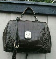 Zara Quality croc handbag carry/shoulder Large bag Dark green Lightweight Logo