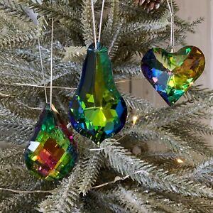 3x Peacock Glass Rainbow Christmas Tree Decoration Crystal Jewels Gisela Graham