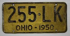 1950 Vintage Original OHIO License Plate Tag 255-LK - Aluminum Waffle