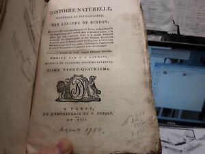 1799 HISTOIRE NATURELLE QUADRUPEDS VOL. 24 LECLERC DE BUFFON - 19 ENGRAVINGS!!