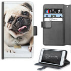 Pug Phone Case, PU Leather Side Flip Cover With Puppy Dog-For Apple Samsung Sony