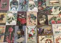 Pretty ~Lot of 25 Antique Greetings Postcards with *BIRDS~Bird-in sleeves-b615