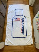 VINTAGE Ralph Lauren Polo Sport Beach Towel White 1996 Spell Out