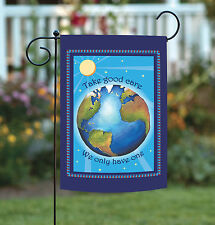 NEW Toland - Protect Earth - Conserve Take Care Blue Globe Garden Flag