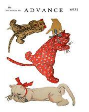 Vintage Animal Sleeping Kitten Cat Toy Fabric Sewing Pattern #6931