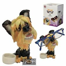Optipaws Yorkie with Bowl  Dog Glasses Holder Figurine NEW in Gift Box 24330