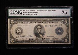 1914 $5 Federal Reserve Note NY PMG 25 Fr#848 Burke/McAdoo - Free Shipping USA