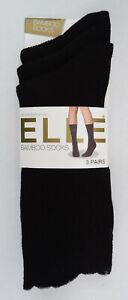 Ladies, Three Pair Pack of Elle, Bamboo Socks, Colour Black, Size 4-8 UK, New