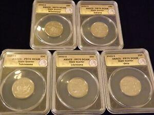 2002 -S    Quarter   5 Coin Set            ANACS  PR 70 DCAM