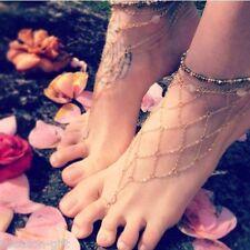 Gift Beach Fashion Multi Tassel Toe Bracelet Chain Link Foot Jewelry Anklet