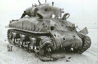 WW II Usa Photo **  Knocked Out Sherman Tank   **