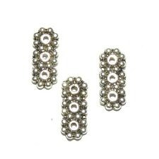 ML7185L2 Daisy Flower 3-Strand 12mm Spacer Bar Antique Silver Metal Bead 50pc