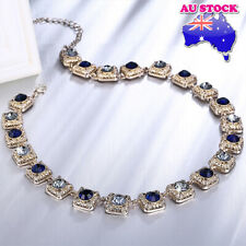 18K Rose Gold Plated Sapphire And Clear With Pave Zircon Crystal Necklace