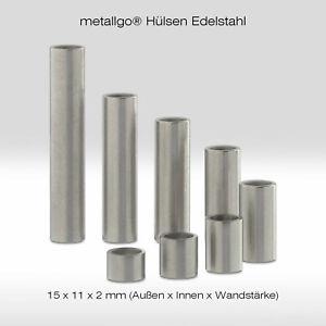 Edelstahl Distanzhülsen, ohne Innengewinde, bis M10 durchsteckbar, 15x11x2 mm