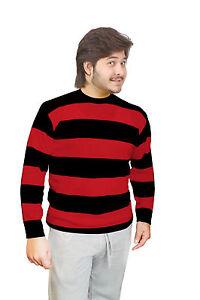 Men's Denis Red Black Stripe Knitted Jumper Halloween Fancy Dress Accessories