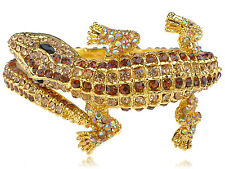 Gold Tone Crystal Rhinestone Crocodile Alligator Hinged Bangle Bracelet Cuff