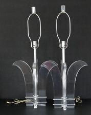 2 Vintage MID-CENTURY MODERN Eames LUCITE TABLE LAMP Pair KARL SPRINGER Van Teal