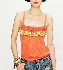 FREE PEOPLE NEW ROMANTICS L MAUI WOWIE Embellished Tank Cami Burnout Crochet NWT