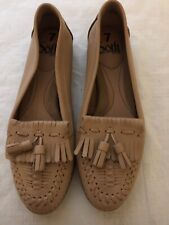 Sofft Women's Brown Leather Slip On Tasseled Moccasins Size 7M~Free Ship!