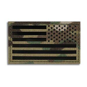 USA American Reverse Flag Multicam OCP IR Military Morale Patch - Hook & Loop