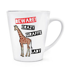 Tenga cuidado con Crazy Jirafa Dama 12oz café con leche Taza Taza-Safari Animal Zoo Divertido