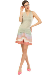 RRP €710 VALENTINO Linen Shorts Size 40 S Colour Block Fully Lined Made in Italy