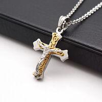 Premium Stainless Steel Crucifix Jesus Cross Pendant Necklace for Women Men