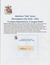 ABE JONES BIRMINGHAM CITY 1919-1921 EXTREMELY RARE ORIGINAL HAND SIGNED CUTTING