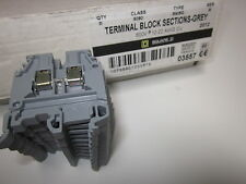 Square D Terminal Block Sections Class, Class 9080, Type M4/6G Grey, Lot of 30