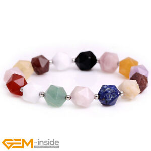 Natural Faceted Mixed Gemstone Beaded Bracelet 7.5'' Jewellery Christmas Gift