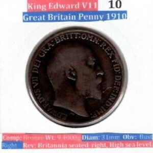 (10) 1910 One Penny - 1d Coin - King Edward VII - Great Britain