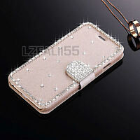 Luxury Bling Crystal Flip Magnetic Wallet Leather Case Cover For Apple Samsung
