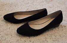 Black Wedge Low-Heel Flats 9 (6 UK) Marks&Spencer Footglove Leathee Court Shoes