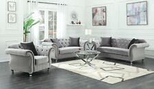 GLAMOROUS SILVER VELVET CRYSTAL TUFTED SOFA LOVE SEAT LIVING ROOM FURNITURE SET