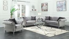 Superbe GLAMOROUS SILVER VELVET CRYSTAL TUFTED SOFA LOVE SEAT LIVING ROOM FURNITURE  SET