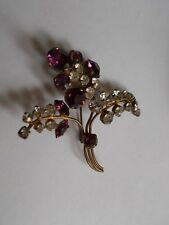 VINGAGE POSY BROOCH AMETHYST AND WHITE RHINESTONE  FLOWER SHAPED  PROM PARTY