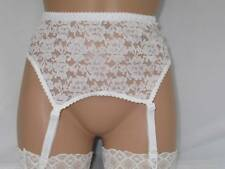 WHITE LACY SUSPENDER GARTER BELT UK SIZE 10  - 12 FOR USE WITH STOCKINGS BNWOT