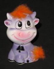 Vintage Metamorphic Cow Figurine Fur Furry (J764)