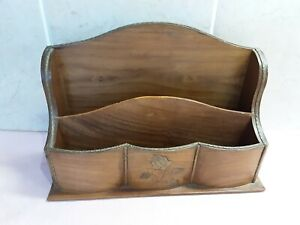 """Vintage Letter Rack With Inlaid Brass Decorations & Trim.10"""" Wide"""